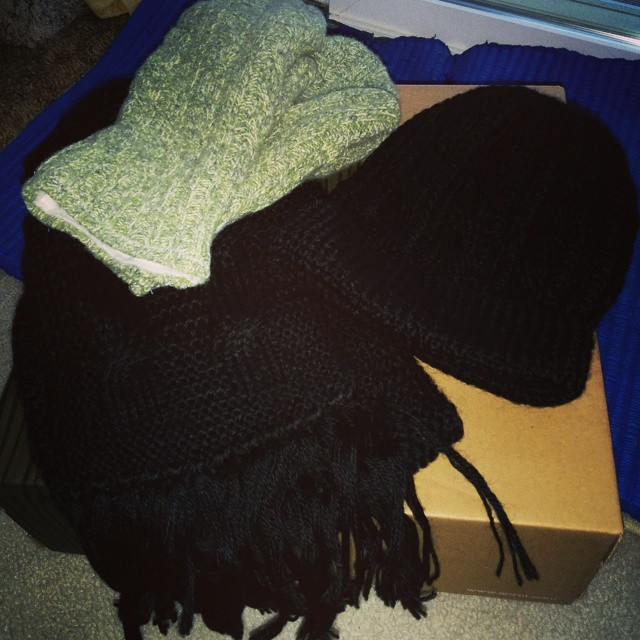 My green recycled sweater mittens, one of my alpaca hats and my alpaca scarf