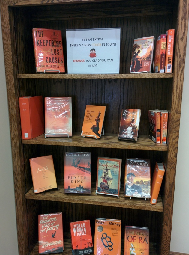 Fun display of orange books