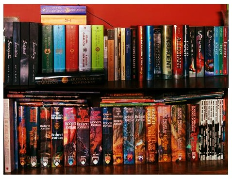 In the living room I have these shelves with some of my favorite book series.  The third shelf is in the next photo.