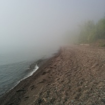 Foggy Sunday morning drive home with a stop at a wayside beach